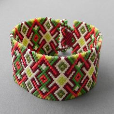 Colorful peyote cuff bracelet  beaded jewelry by Anabel27shop,