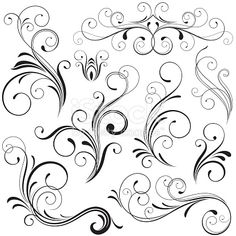 Set of nine finely illustrated scrolls and scroll elements. All are individual objects, not flattened and easy to use. Hi res jpeg included. Scroll down to see more illustrations and elements.