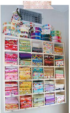 Sewing Room Storage, Sewing Room Organization, Craft Room Storage, My Sewing Room, Sewing Rooms, Fabric Storage, Craft Rooms, Fabric Boxes, Fabric Basket