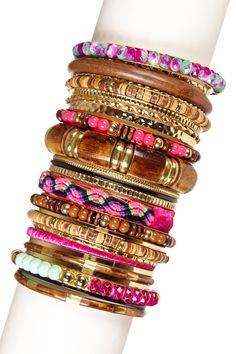 Colorful bangles stack.