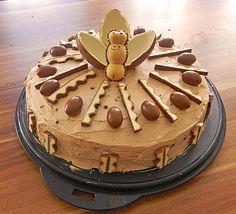Zutaten     150 g  Butter   150 g  Zucker   1 Pck.  Vanillezucker   150 g  Schokolade (Kinderschokolade), geschmolzen   2  Ei(er)   4  ...