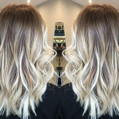 ashy ultra blonde balayage but   that fried white curl is really bothering me