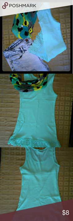 💙 Baby Blue Tank💙 Beautifully accentuated with a lace trim New Never worn No Boundaries Tops Tank Tops