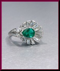 Antique Vintage Retro Platinum 1940's Columbian Emerald and Diamond Cocktail Ring Statement Ring by AntiqueJewelryNyc on Etsy