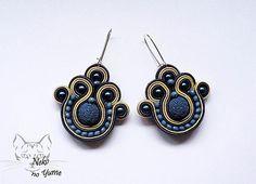 Handmade Blue Beige Soutache Earrings -  Alice