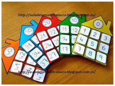 "Aula de la maestra Laura: Cada ""familia"" en su casita Kindergarten Math, Teaching Math, Maths, Math Games, Preschool Activities, Math Numbers, Math For Kids, Too Cool For School, Toddler Preschool"