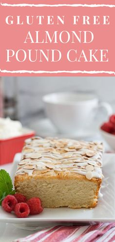 Gluten-Free Almond Pound Cake is a great option for entertaining. Top with glaze and toasted almonds for afternoon tea cake, or use as the base for a Christmas trifle or a strawberry shortcake. Best of all, this gluten-free cake freezes well, so you could make it a week or two in advance during the holidays to have on hand for entertaining. | What A Girl Eats Easy Easter Desserts, Easy Desserts, Delicious Desserts, Gluten Free Almond Cake, Gluten Free Desserts, Almond Pound Cakes, Pound Cake Recipes, Best Dessert Recipes, Sweet Recipes