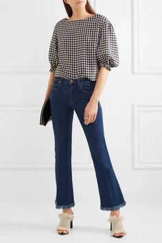 Sonia Rykiel - Cropped Frayed Mid-rise Flared Jeans - Mid denim