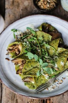 Spinach Crepes with Mushrooms, Basil Pesto & Tahini Dressing