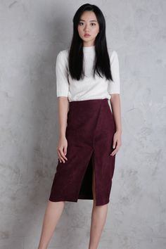 Dayton Suede Skirt (Maroon) | The Tinsel Rack