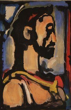 Christ de profil (Plate X) Georges Rouault Aquatint 31 x 21 cm. From Les Fleurs du mal by Charles Baudelaire (L'Etoile Filante: 1966)