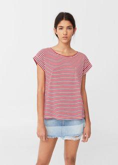 Striped cotton t-shirt -  Woman | MANGO United Kingdom