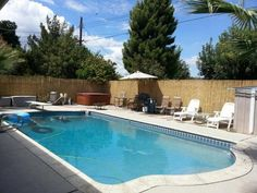 Backyard X-Scapes 6 ft. x 16 ft. L Reed Fencing at The Home Depot - Mobile Small Backyard Decks, Small Backyard Design, Swimming Pools Backyard, Pool Landscaping, Backyard Ideas, Pool Ideas, Reed Fencing, Outdoor Water Activities, Garden Side Table