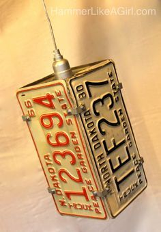 29 Man cave ideas on a budget like this license plate light