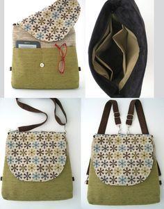 Backpack purse, messenger crossbody bag ,convertible bag, fabric tote bag…