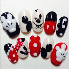 Hot Trendy Nail Art Designs that You Will Love Trendy Nail Art, Cute Nail Art, Cute Nails, Minnie Mouse Nails, Mickey Mouse Nails, Disney Nail Designs, Cute Nail Designs, Mickey Mouse Nail Design, Disney Acrylic Nails