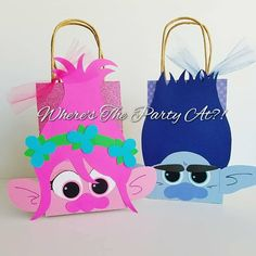 Trolls Inspired Favor Bags/Poppy and Branch Kids Gift Bags, Poppy And Branch, Troll Party, Kraft Bag, Favor Bags, Poppies, Card Stock, Reusable Tote Bags, Etsy Shop