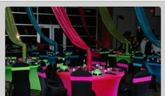 Neon Drape and table accents