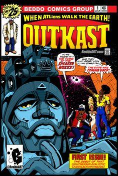Outkast by Beddo. Classic comic book cover remix of the Eternals by the great Jack Kirby. Arte Do Hip Hop, Hip Hop Art, History Of Hip Hop, Rap History, Hip Hop Lyrics, Rapper Art, Rap Wallpaper, Hip Hop And R&b, Soul Art