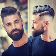 High skin fade hard part side swept