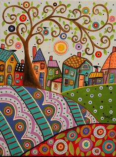 Amusing Landscape 12x16 ORIGINAL CANVAS PAINTING birds cat FOLK ART Karla Gerard #FolkArtAbstractPrimitive