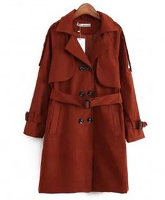 Solid Notch Lapel Trench Coat