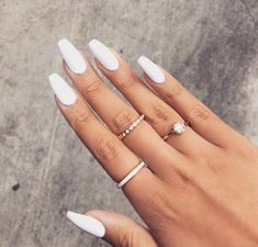This matte white nails are great for anytime but perfect for the winter and spring time and these nail shape are totally in ❄️