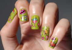 Cute Green Nail Art Design