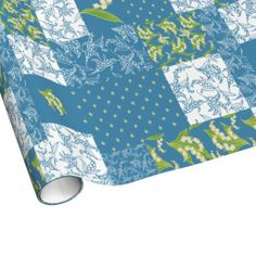 Shop Faux Patchwork Giftwrap: Lily of the Valley, Blue Wrapping Paper created by poshandpainterly. Blue Wrapping Paper, Custom Wrapping Paper, Picnic Blanket, Outdoor Blanket, Blue Gift, On The High Street, Lily Of The Valley, Paper Goods, Stationery