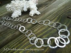 Hand wrought Sterling Silver chain necklace, chunky, hand forged, large hammered links $255.00 by JoDeneMoneuseJewelry