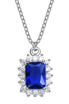Lab-Created Diamond Rectangle Sapphire Colored Pendant Necklace