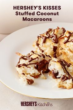 Bring HERSHEY'S KISSES Chocolate Stuffed Coconut Macaroons to your next Thanksgiving or Holiday party this year! This easy recipe is made with HERSHEY'S KISSES Milk Chocolate and MOUNDS Sweetened Coconut Flakes and makes for a fun, bite-sized dessert.