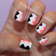 black, white and bright pink geometric nail art design