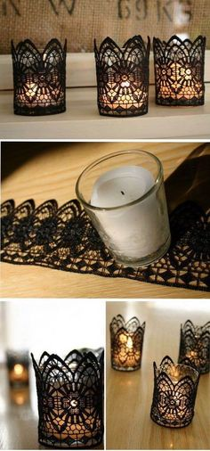 I might need some of this stuff for my house! haha DIY Black Lace Candles for Halloween. These stunning handmade pieces can be arranged on tables around the centrepiece to add a touch of vintage elegance to the Halloween décor. Fete Halloween, Holidays Halloween, Halloween Crafts, Homemade Halloween Decorations, Easy Halloween, Gothic Halloween Decorations, Halloween Home Decor, Halloween 2016, Diy Candle Holders