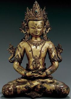 15th century circa, Nepal, buddha Amitayus, gilt copper inlaid with gems, private collection