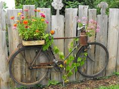 UP-CYCLED BIKE PLANTER: Don't throw it - grow in it! An old bicycle can be repurposed with micro container gardens and even used as a trellis for a climber like a grape vine. Mounted on a fence, you c (Diy Garden Art) Unique Garden, Diy Garden, Spring Garden, Garden Projects, Garden Pots, Fence Garden, Fence Plants, Garden Landscaping, Diy Fence