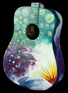 Painted Guild guitar by CreationsALAJenni on Etsy