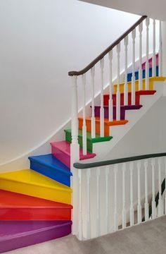 Here we share 16 beautiful pictures of beautiful effect rainbow stairs design, You can add color to your staircase by painting the interior of the staircase