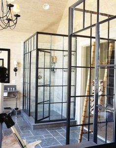 Steel and glass shower enclosures