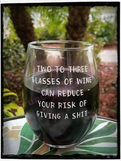 Funny wine glass Reduce your risk of giving a shit stemless wine glass Wine lovers wine glass Sturdy wine glass Humorous wine glass Wine Glass Sayings, Wine Glass Crafts, Wine Quotes, Funny Wine Sayings, Sayings For Wine Glasses, Wine Meme, Diy Wine Glasses, Wine Art, In Vino Veritas