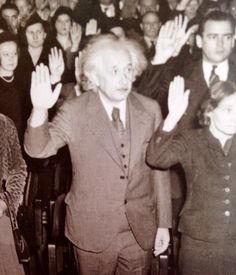 Forced to flee Nazi Germany because he was Jewish, Albert Einstein becomes a US citizen (from Inknscroll).