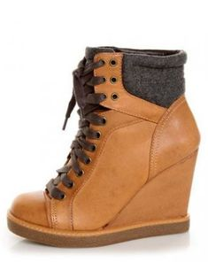 The Report Daysha Sand Tan Lace-Up Hiking Wedge Sneakers are one ah-ma-zing combination of sneaker, wedge, and hiking boot, with a round toe cap and high top laces. Sneaker Heels, Wedge Sneakers, Wedge Boots, Shoe Boots, Shoes Heels, Shoe Bag, Cute Sandals, Cute Shoes, Me Too Shoes