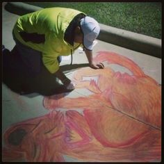 Street painting a sketch at the Valley Ranch library in Irving.