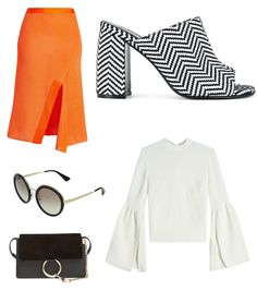 Going on a dinner date and don't know what to wear? Don't struggle too much! Black&white is always a winner combination. Break the monotony with a colourful item.  #stylishdressing #victoriabeckham #stellamccartney #orange #chic  #classy #simplicity #stylishoutfit #collage #fashion #fashionwear #elegant