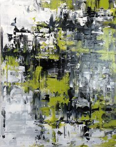 Abstract Painting, Original Modern Oil Painting, Contemporary Black, White, Grey, Chartreuse - 16x20 Stretched Canvas. Abstract Modern