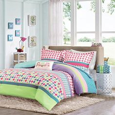 Kids' Comforter Sets - Girls Teen Kids Modern Comforter Bedding Set Pink Purple Aqua Blue Polka Dots Stripes Geometric Design with Owl Pillow Includes Bonus Includes Bonus Sleep Mask From Designer Home FullQueen * Continue to the product at the image link.