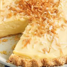 Coconut Custard Pie We skipped the cream on top to let the tropical custard filling be the star. Coconut Custard Pie, Custard Recipes, Custard Filling, Coconut Recipes, Pie Recipes, Cooking Recipes, Pear Custard Pie Recipe, Custard Pies, Yummy Recipes