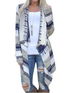 STARVNC Women Long Sleeve Plaid Coat Asymmetric Hem Cardigan - Walmart.com Loose Sweater, Sweater Cardigan, Boyfriend Cardigan, Sweater Coats, Casual Sweaters, Sweaters For Women, Cardigans, Women's Sweaters, Ethno Style