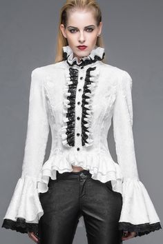 Baroque patterns white shirt, flared sleeves, lacing on the back, Victorian gothic, jabot