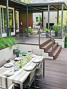 Planning a new deck or a deck makeover? Browse these pictures of beautiful decks to find inspiration for materials, layout, decorating, and more. This trio of deck tours shows how to layer comfort and (Patio Step With Railing) Backyard Patio, Backyard Landscaping, Desert Backyard, Patio Decks, Balcony Deck, Backyard Kitchen, Wood Patio, Landscaping Ideas, Deck Makeover